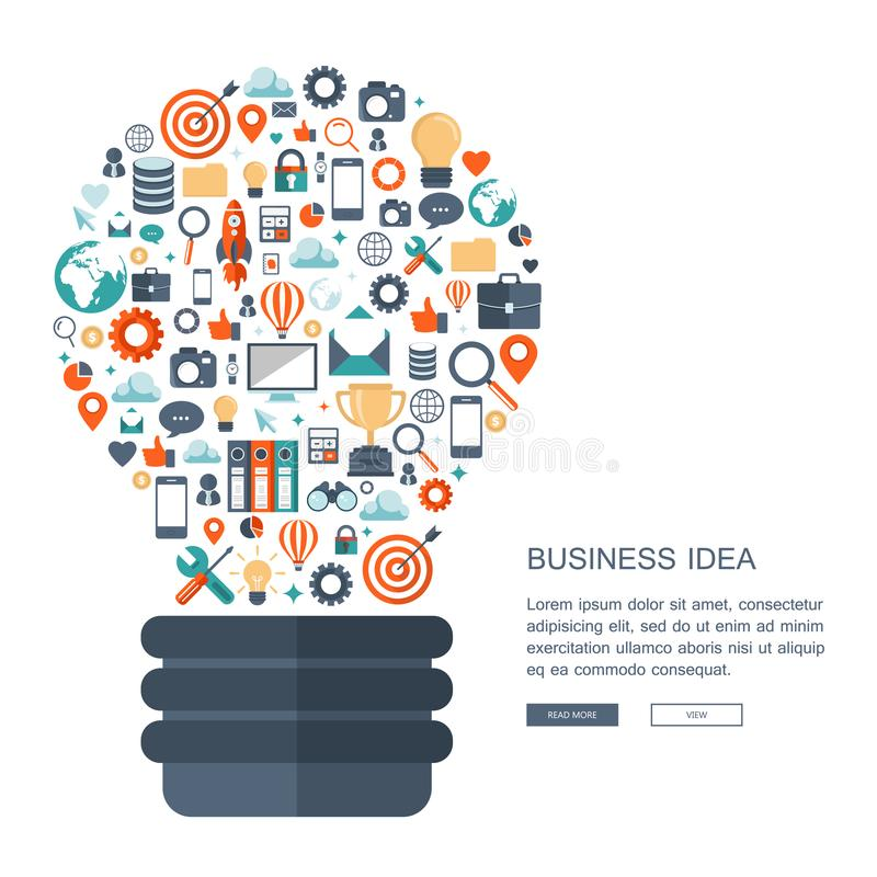 Business idea concept. Light bulb with business icons pattern. Flat vector stock illustration