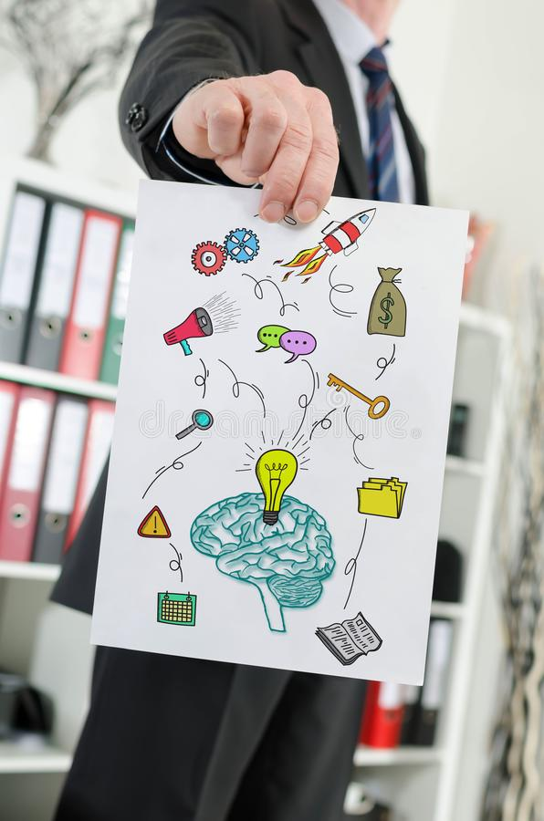 Business idea concept shown by a businessman. Paper showing business idea concept held by a businessman royalty free stock image