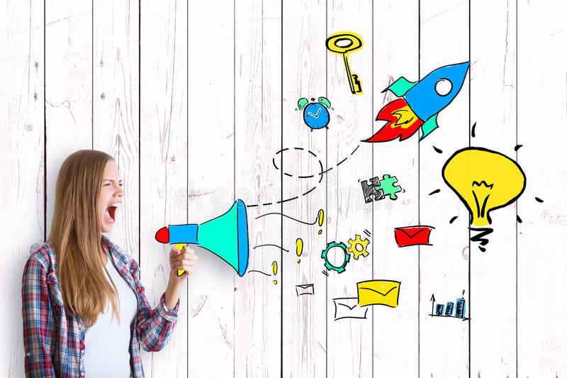 Business idea concept. Young caucasian woman screaming into abstract drawn megaphone on light wooden plank background with drawn business icons. Success concept vector illustration