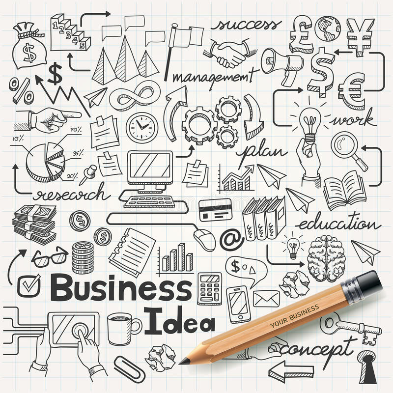Business Idea doodles icons set. stock illustration