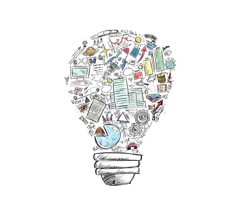 Business idea. Drawn light bulb with many business symbols stock photos