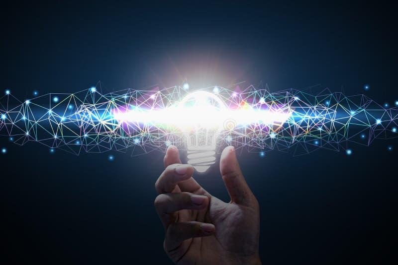 Business idea. Men hand holding light bulb. Polygon color line royalty free illustration