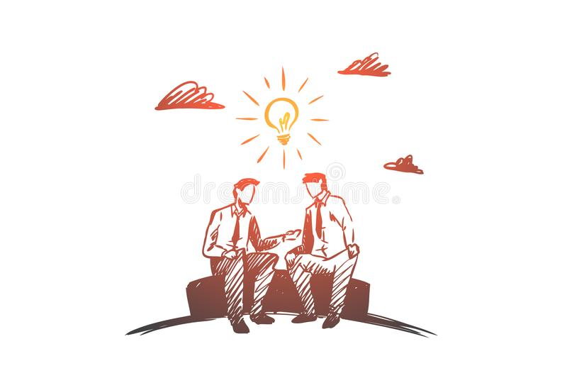 Business idea, partners, together, teamwork concept. Hand drawn isolated vector. Business idea, partners, together, teamwork concept. Hand drawn business royalty free illustration