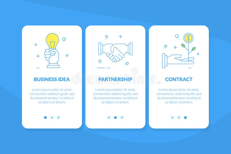 Business Idea, Partnership, Contract Mobile App Page Onboard Screen Set, Website or Web Page Vector Illustration. Web Design royalty free illustration