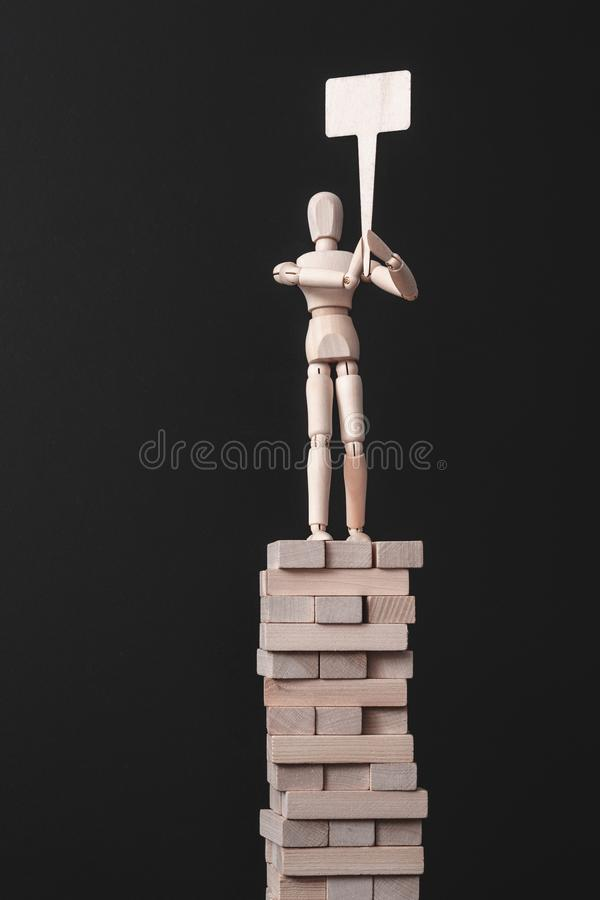 Business idea reward message announcement search. Business idea reward. Message and announcement. Search. Information and presentation. Wooden man composition royalty free stock photography