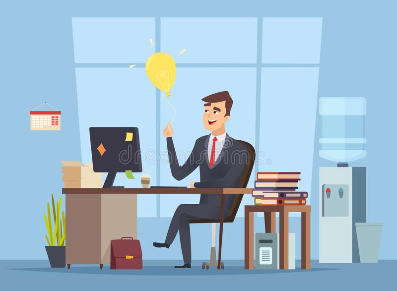 Business idea search. Office manager have smart mind light bulb startup concept of success happy work vector character stock illustration