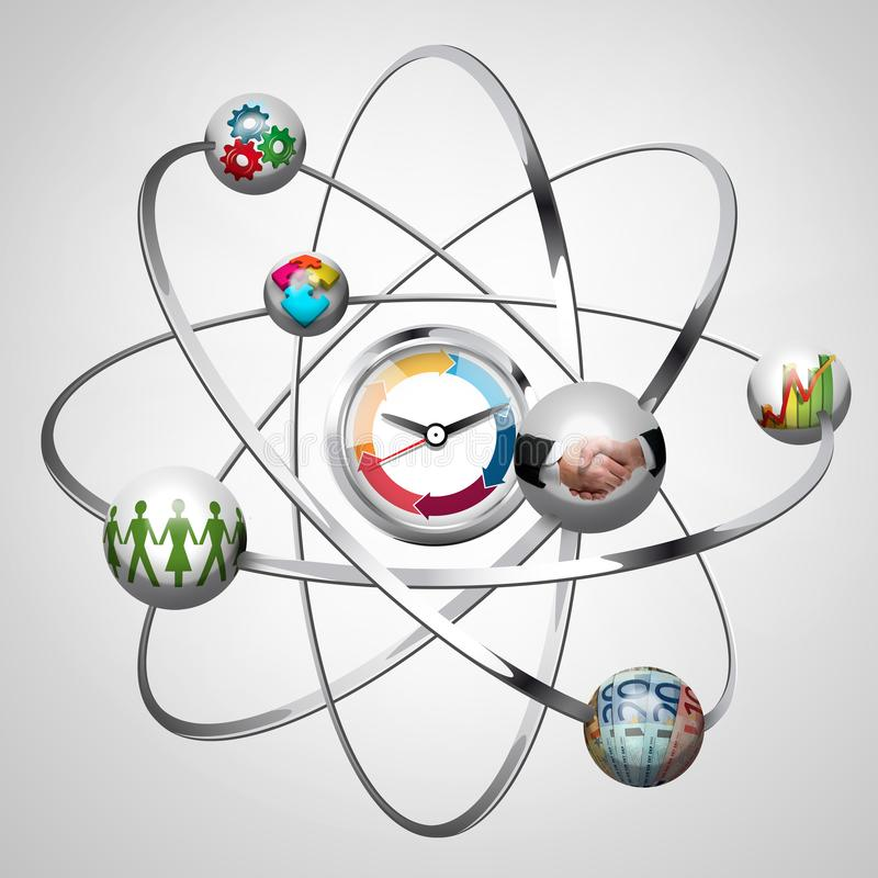 Business idea - work creative concept - atom with electrons stock images