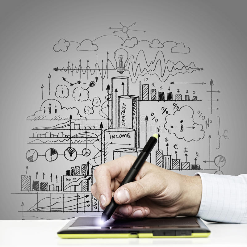 Business ideas. Close up of human hand drawing business strategy plan stock photos