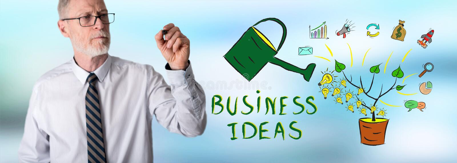 Businessman drawing business ideas concept royalty free stock photo