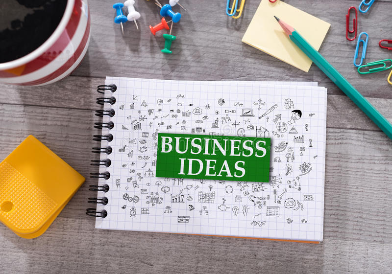 Business ideas concept on a notepad stock photography
