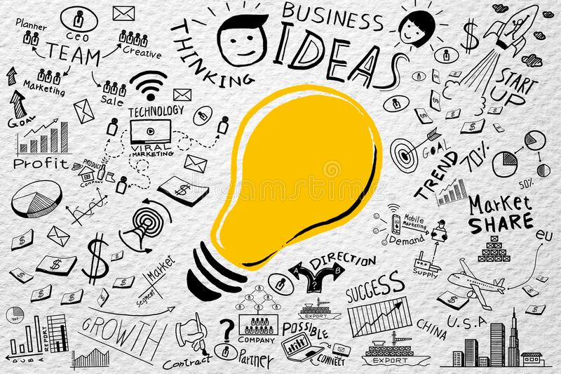 Business ideas.Freehand drawing Light bulb business doodles set,Inspiration concept modern design,Ideas workflow background. royalty free stock images