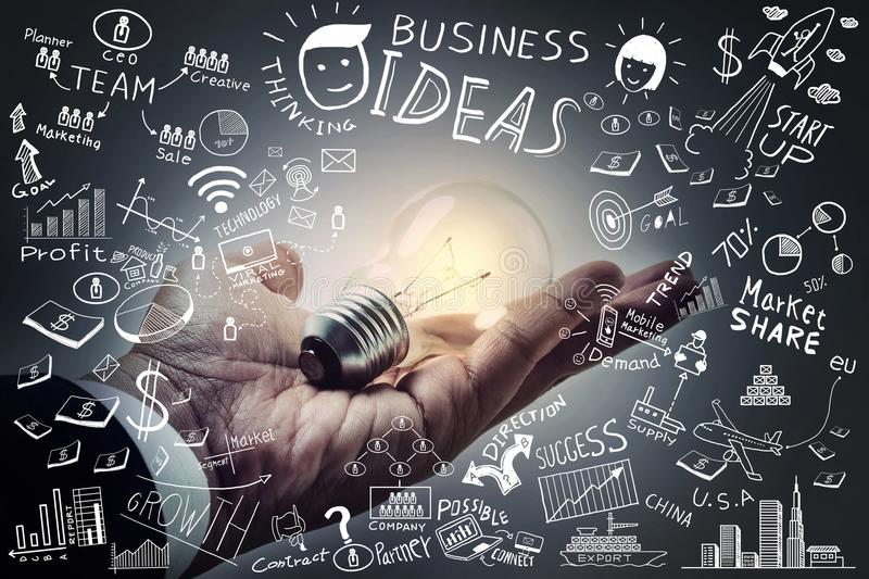 Business ideas.Light bulb on hand with freehand drawing business stock photos