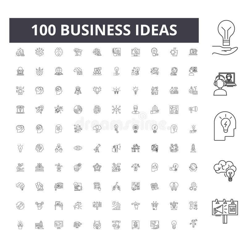 Business ideas line icons, signs, vector set, outline illustration concept. Business ideas line icons, signs, vector set, outline concept illustration vector illustration