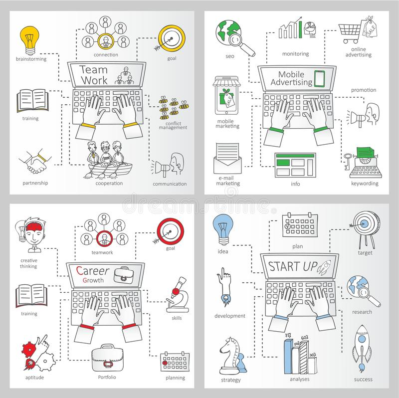 Business ideas sketches vector illustration