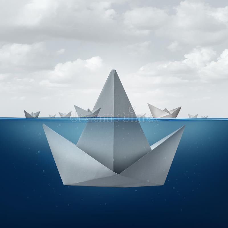 Business Ignorance. And fear concept as a group of paper boats floating around the tip of a giant origami sail boat looking as an ice berg shape as a metaphor vector illustration