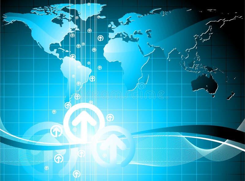 Business illustration. With world map on blue background stock illustration