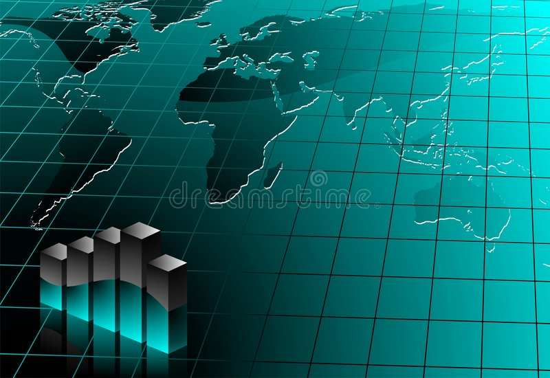 Business illustration. With world map on blue background vector illustration