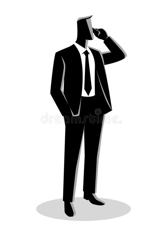 Businessman in formal suit standing while on phone vector illustration