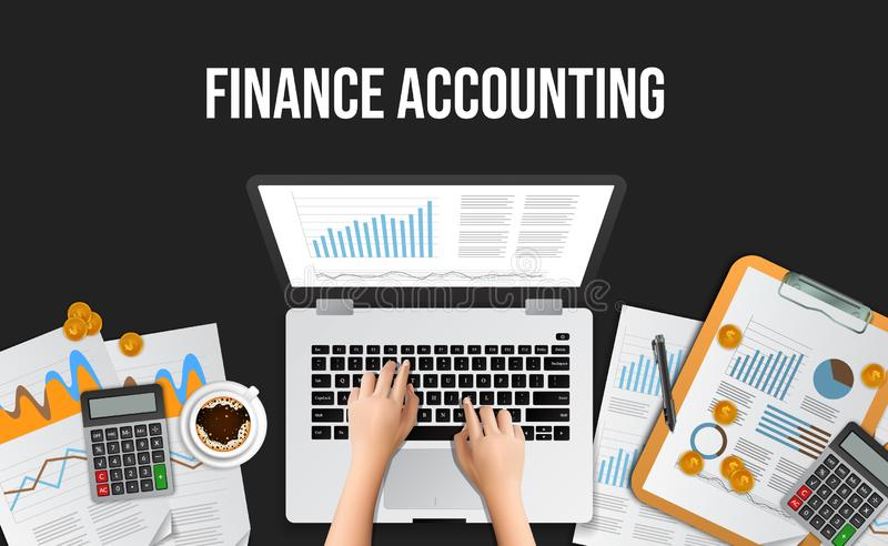 Business illustration concept for finance accounting, management, audit, research, working at the office. Web banner top view hand typing on laptop at desk stock image