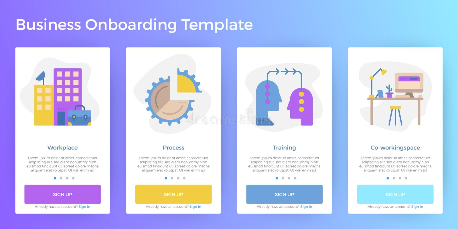 Business Mobile App Onboarding Template. Business illustration mobile screen app onboarding user interface template for smartphone website stock illustration