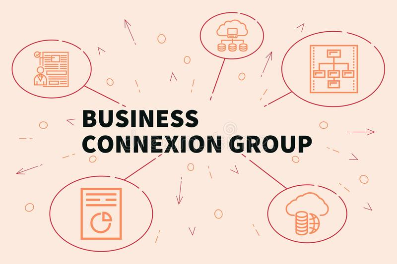 Business illustration showing the concept of business connexion. Group royalty free illustration