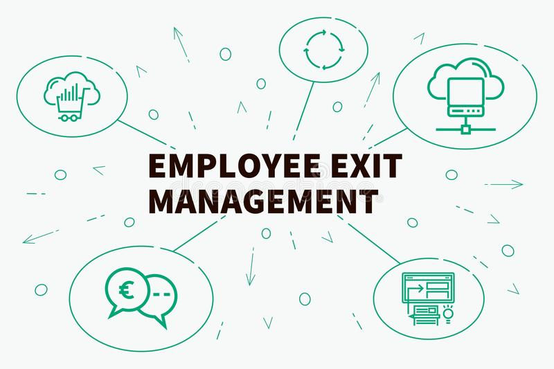Business illustration showing the concept of employee exit management royalty free illustration