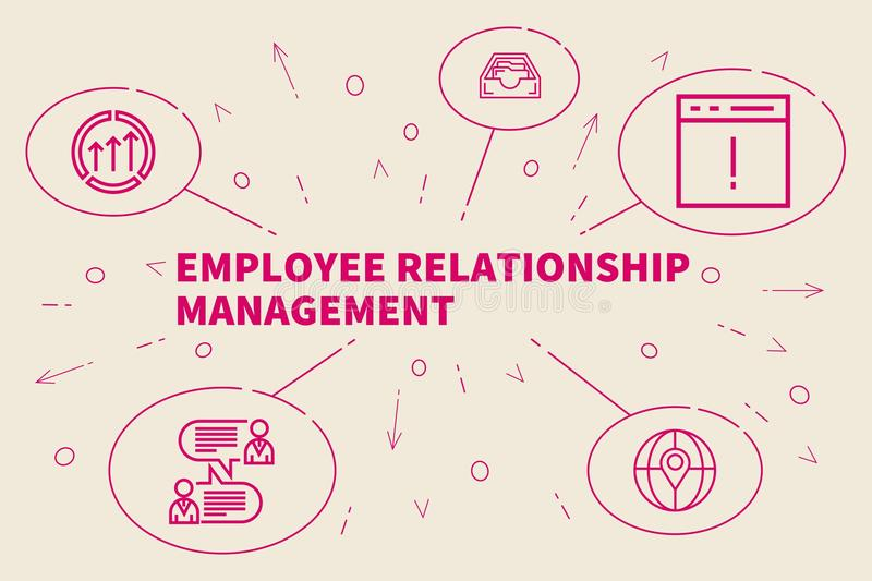 Business illustration showing the concept of employee relationship management vector illustration