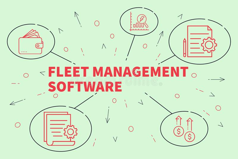 Business illustration showing the concept of fleet management so royalty free illustration