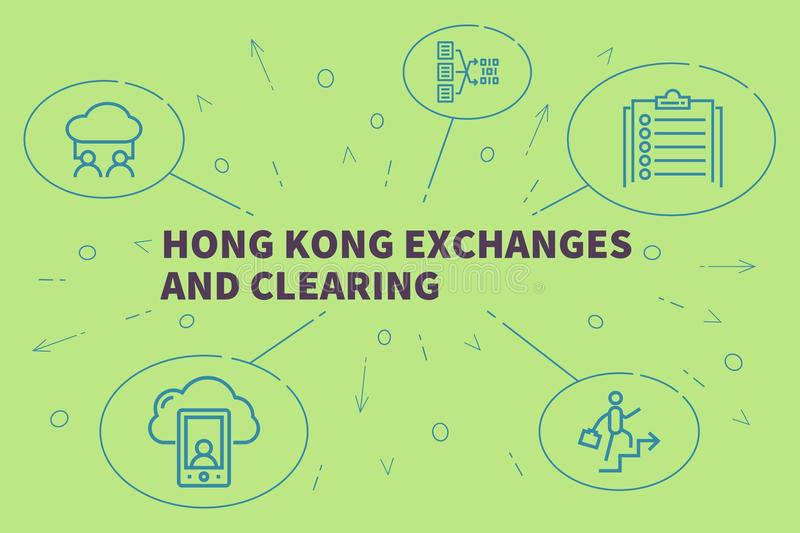 Business illustration showing the concept of hong kong exchanges. And clearing royalty free illustration