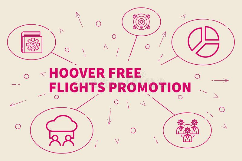 Business illustration showing the concept of hoover free flights. Promotion stock illustration