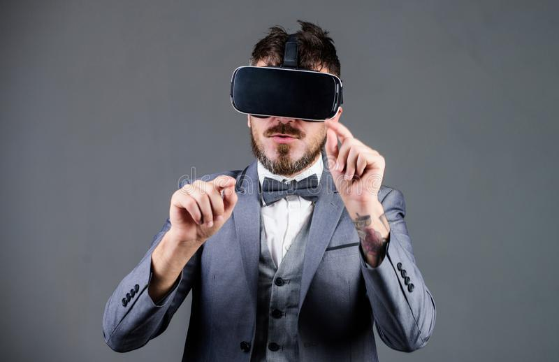 Business implement modern technology. Businessman explore virtual reality. Technology for business. Digital surface. Interaction. Business man virtual reality stock photo