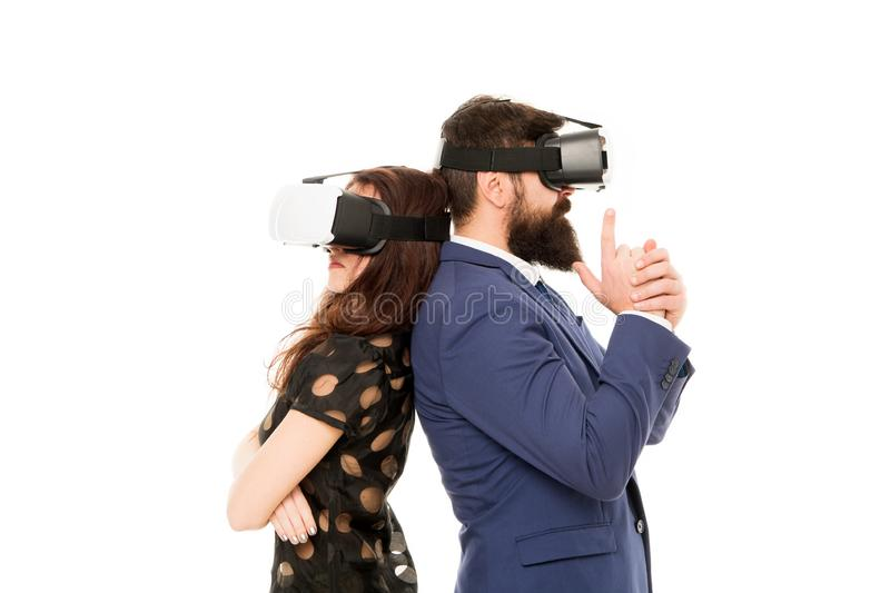 Business implement modern technology. Couple colleagues wear hmd explore virtual reality. Business partners interact in. Virtual reality. New opportunity royalty free stock photos