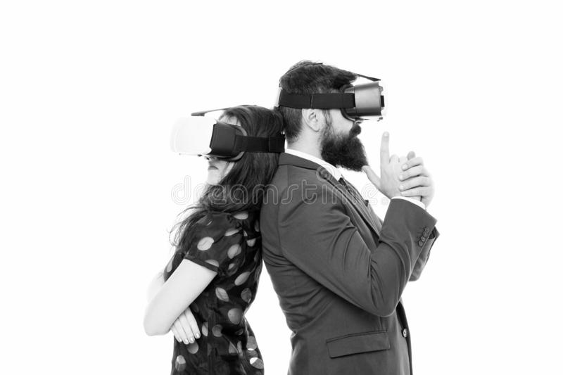 Business implement modern technology. Couple colleagues wear hmd explore virtual reality. Business partners interact in. Virtual reality. New opportunity stock images