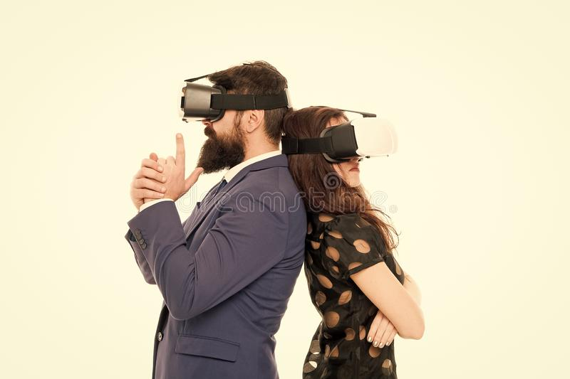 Business implement modern technology. Couple colleagues wear hmd explore virtual reality. Business partners interact in. Virtual reality. New opportunity stock photo