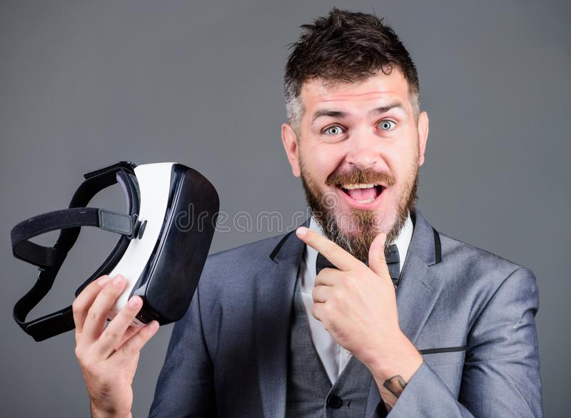 Business implement modern technology. Business man virtual reality. Modern gadget. Innovation and technological advances. Businessman explore virtual reality stock photography