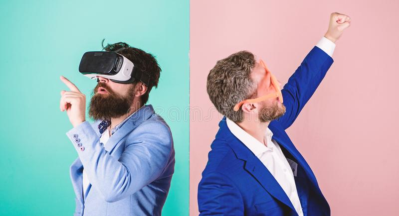 Business implement modern technology. Real fun and virtual alternative. Man with beard in VR glasses and louvered. Plastic accessory. Guy interact in virtual stock photo