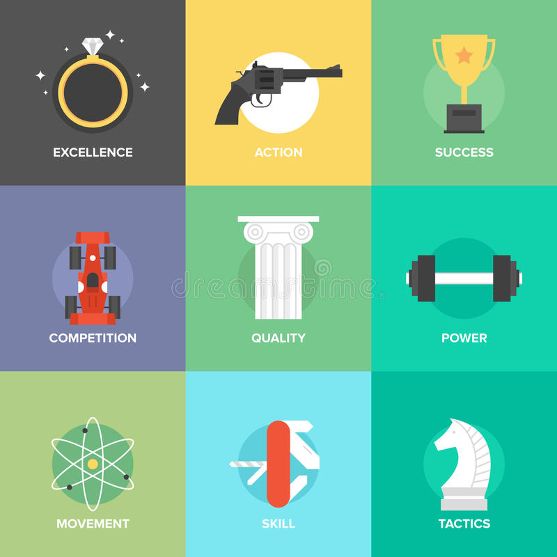 Business improvement skills flat icons set royalty free illustration