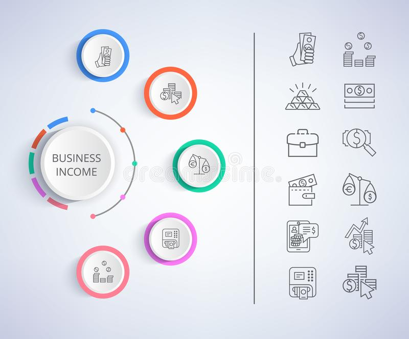 Business Income Constituent Vector Illustration. Business income constituent analysis with colorful diagram with icons of money currencies and market forecasts vector illustration