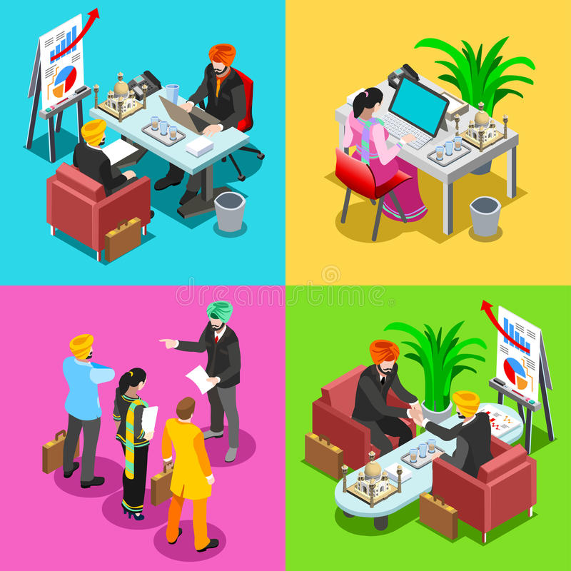 Business Indian 02 Isometric People royalty free illustration