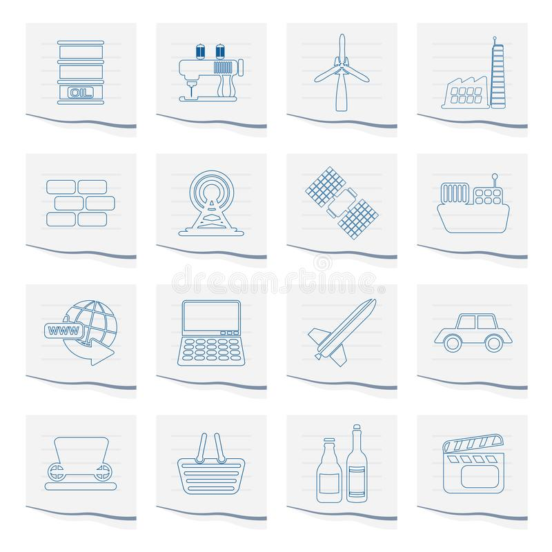 Business and industry icons on a piece of paper. Vector Icon Set stock illustration