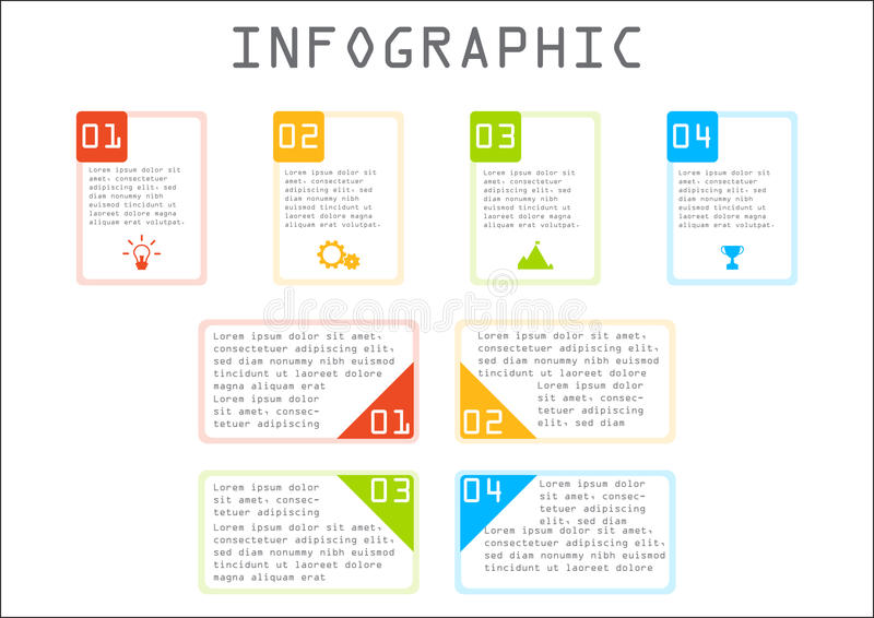 Business info graphic, rectangle chart, step by step, way to success royalty free stock photos