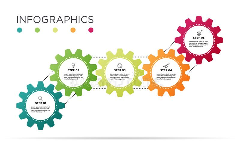 Business Info graphic template. Industry gear design with 5 icons royalty free illustration