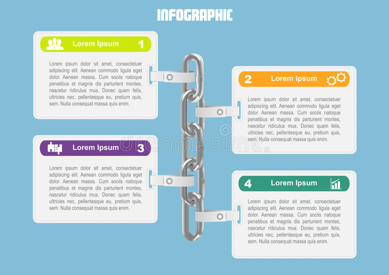 Business infographic with chain. Page 1 of 7. Business infographic with chain for banner, number options, web design, documents etc vector illustration