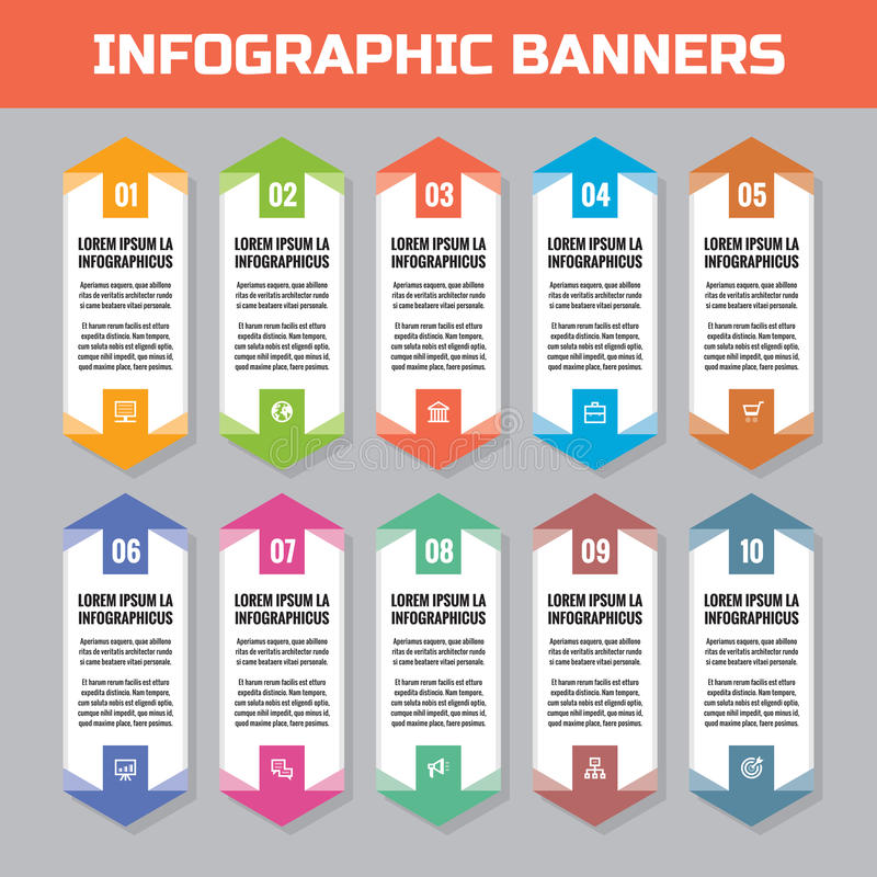Business infographic concept - vertical colored banners - vector layout for presentation, brochure, website and other projects. Infograph numbered step options stock illustration