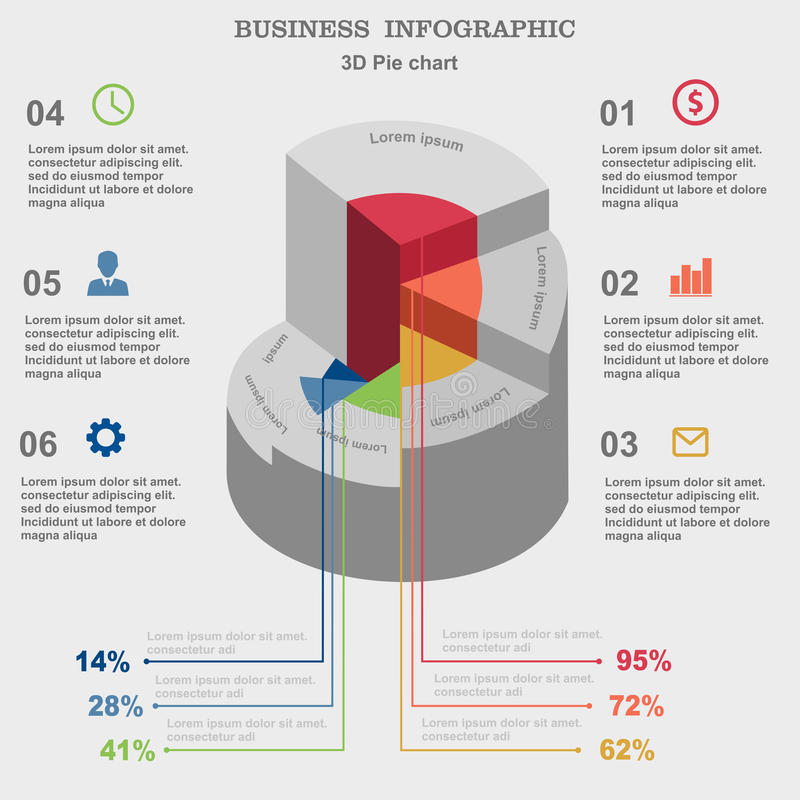 Business infographic. 3D pie chart. Layout for your options or steps. Investments, dealers, red, concept, sign, , brokers, success, presentation, diagram, orange vector illustration