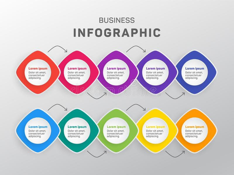 Business infographic data visualization diagram. Timeline icons vector template, milestone elements diagram process design. Infographic data template royalty free illustration