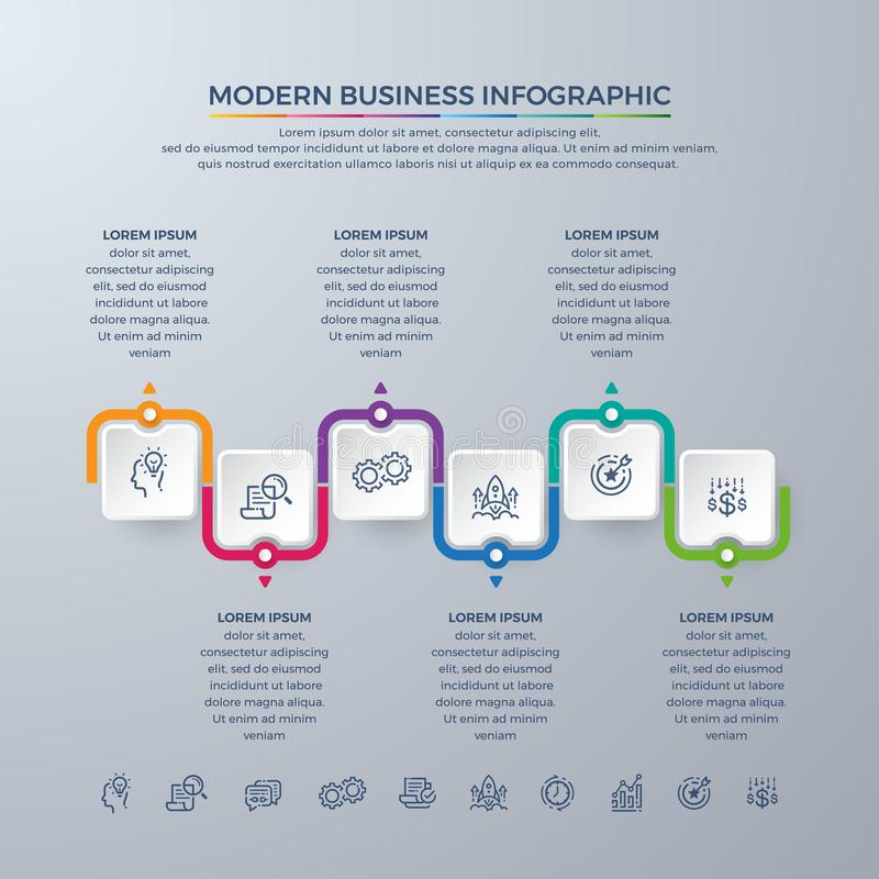 Business Infographic design with 6 process choices or steps. Design elements for your business such as reports, brochures,. Workflows and more. Infographic stock illustration