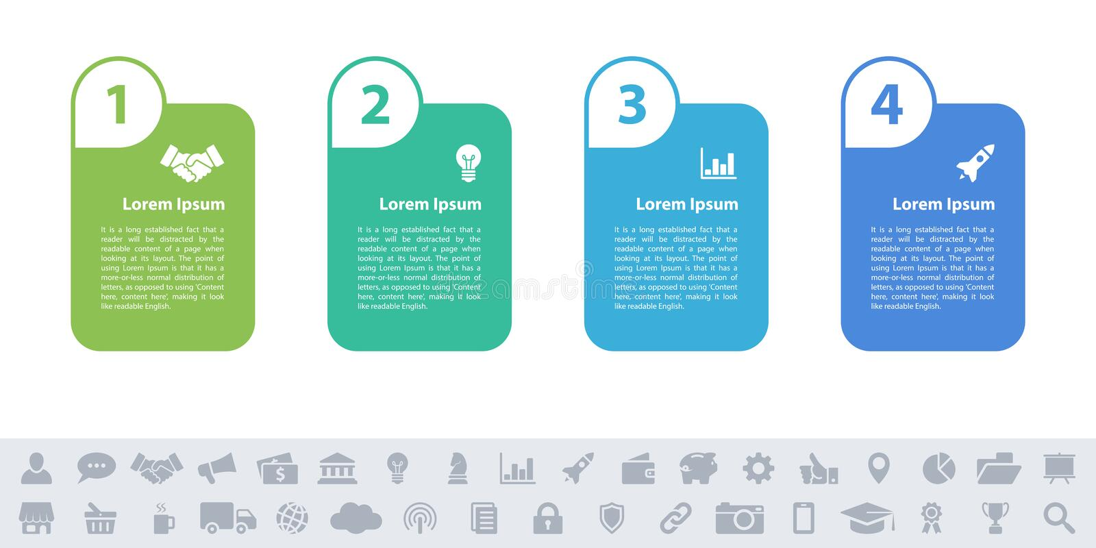 Business infographic design template - 4 steps vector illustration