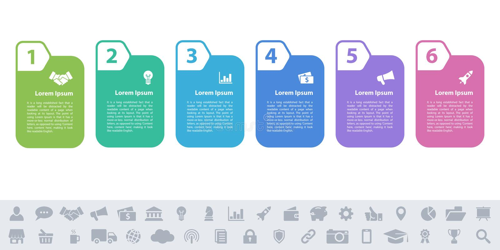 Business infographic design template - 6 steps royalty free illustration