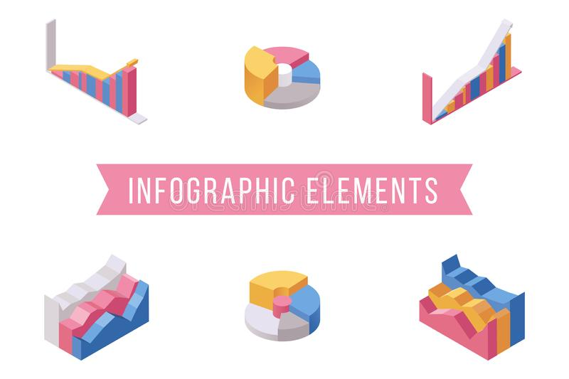 Business infographic elements isometric illustrations set. Various histograms, multicolor pie and stacked area charts. Pack. Financial presentation diagrams stock illustration
